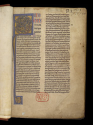 Illuminated Initial And Press-Mark, In A Commentary On Psalms 51-100 f.1r